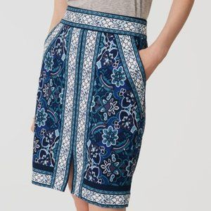 Ann Taylor LOFT Blue Print Pencil Skirt